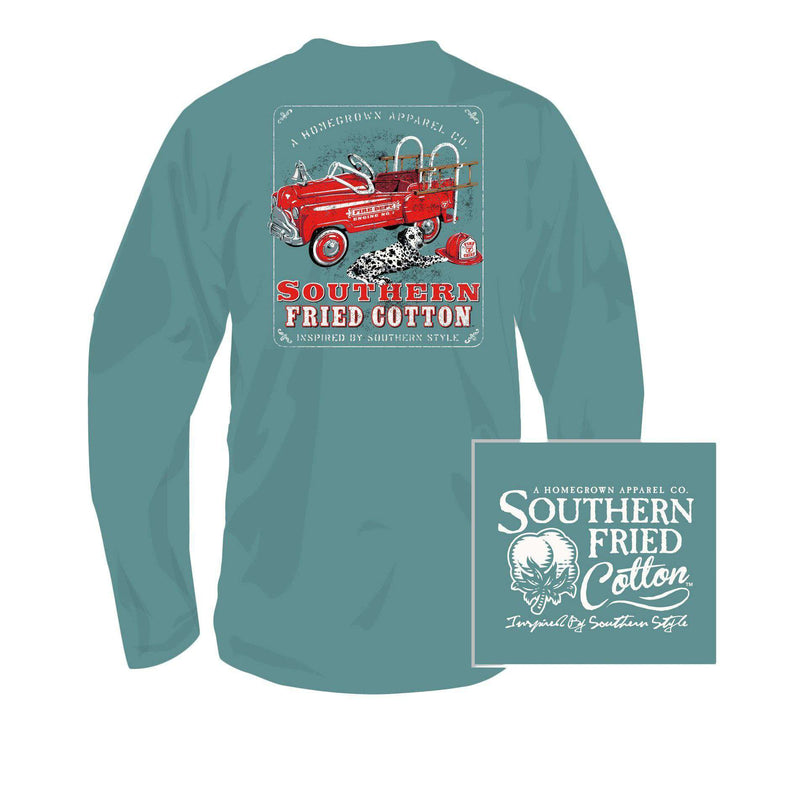 Youth Lil Fire Chief Long Sleeve Tee Shirt in Seafoam by Southern Fried Cotton