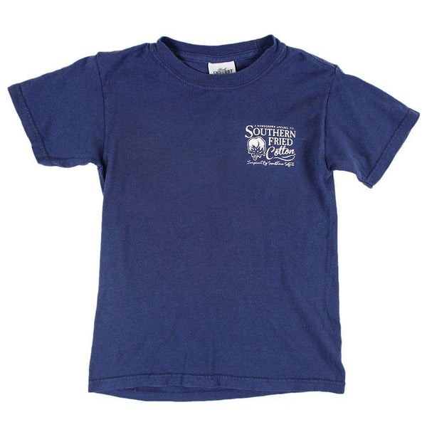 Youth Lil' Fire Chief Pocket Tee in China Blue by Southern Fried Cotton