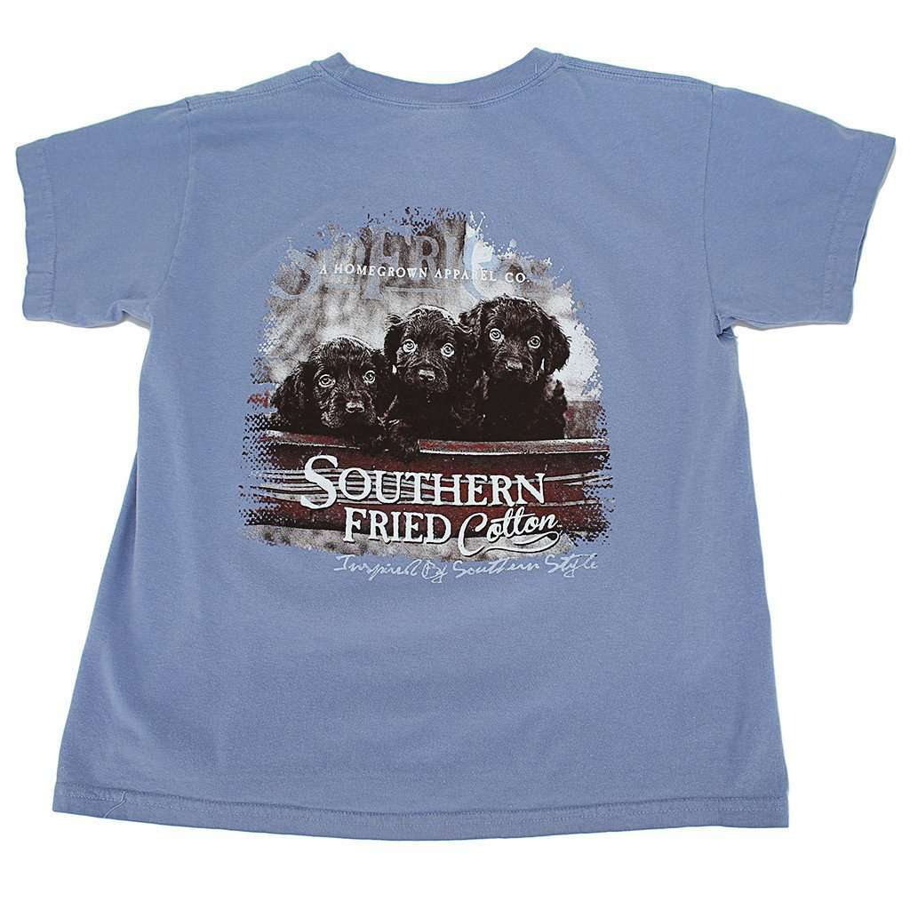 Tee Shirts - Youth Little Rascals Tee Shirt In Washed Denim By Southern Fried Cotton