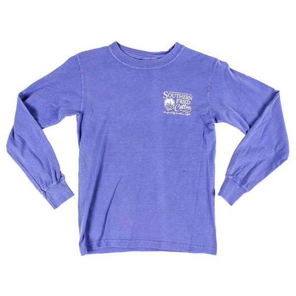 Youth Polka Pointer Long Sleeve Pocket Tee in Violet by Southern Fried Cotton