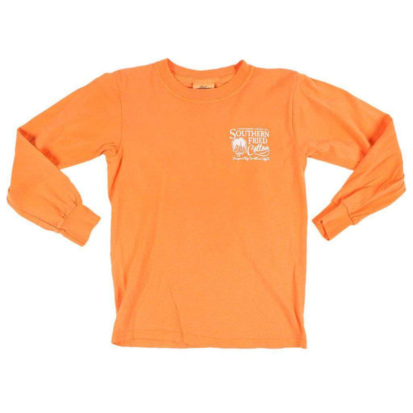 Youth Sweet Tea & Bumblebees Long Sleeve Pocket Tee in Melon by Southern Fried Cotton