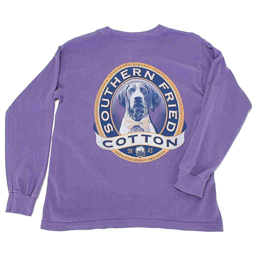 Tee Shirts - Youth Winston II Long Sleeve Tee Shirt In Violet By Southern Fried Cotton