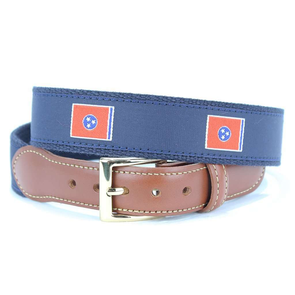 Tennessee Flag Leather Tab Belt in Navy by Country Club Prep  - 1