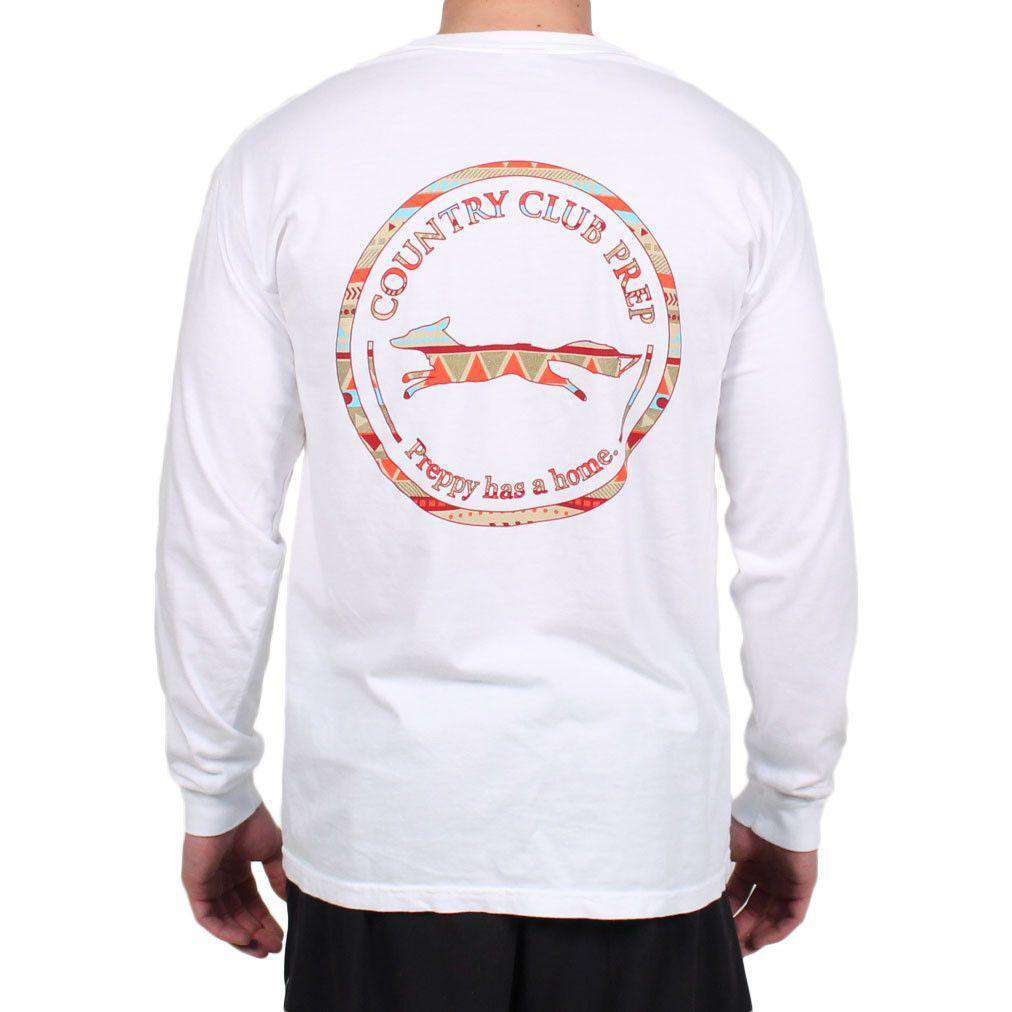 The Tenochtitlan Aztec Pattern Original Logo Long Sleeve Tee Shirt in White by Country Club Prep  - 1