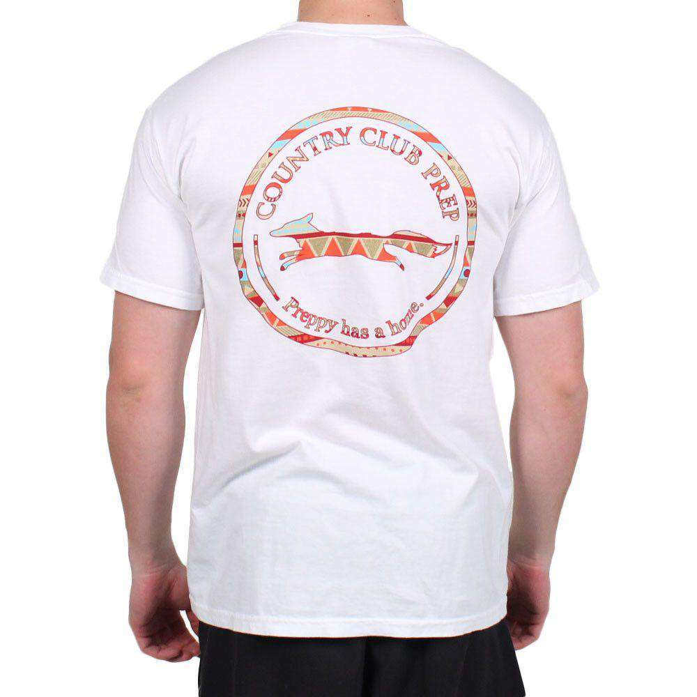 The Tenochtitlan Aztec Pattern Original Logo Tee Shirt in White by Country Club Prep  - 1