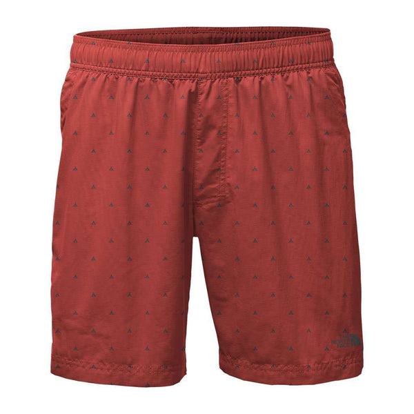 "Men's 7"" Class V Pull-On Trunks in Bossa Nova Red Tent Print by The North Face"