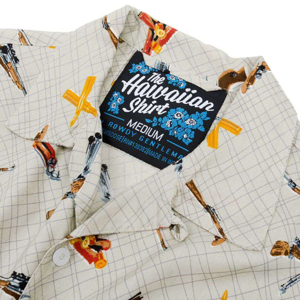 The Sharpshooter Hawaiian Shirt in Light Brown by Rowdy Gentleman - FINAL SALE
