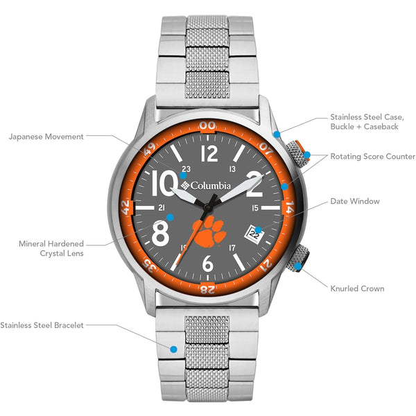 Clemson Outbacker 3-Hand Date Stainless Steel Watch by Columbia Sportswear