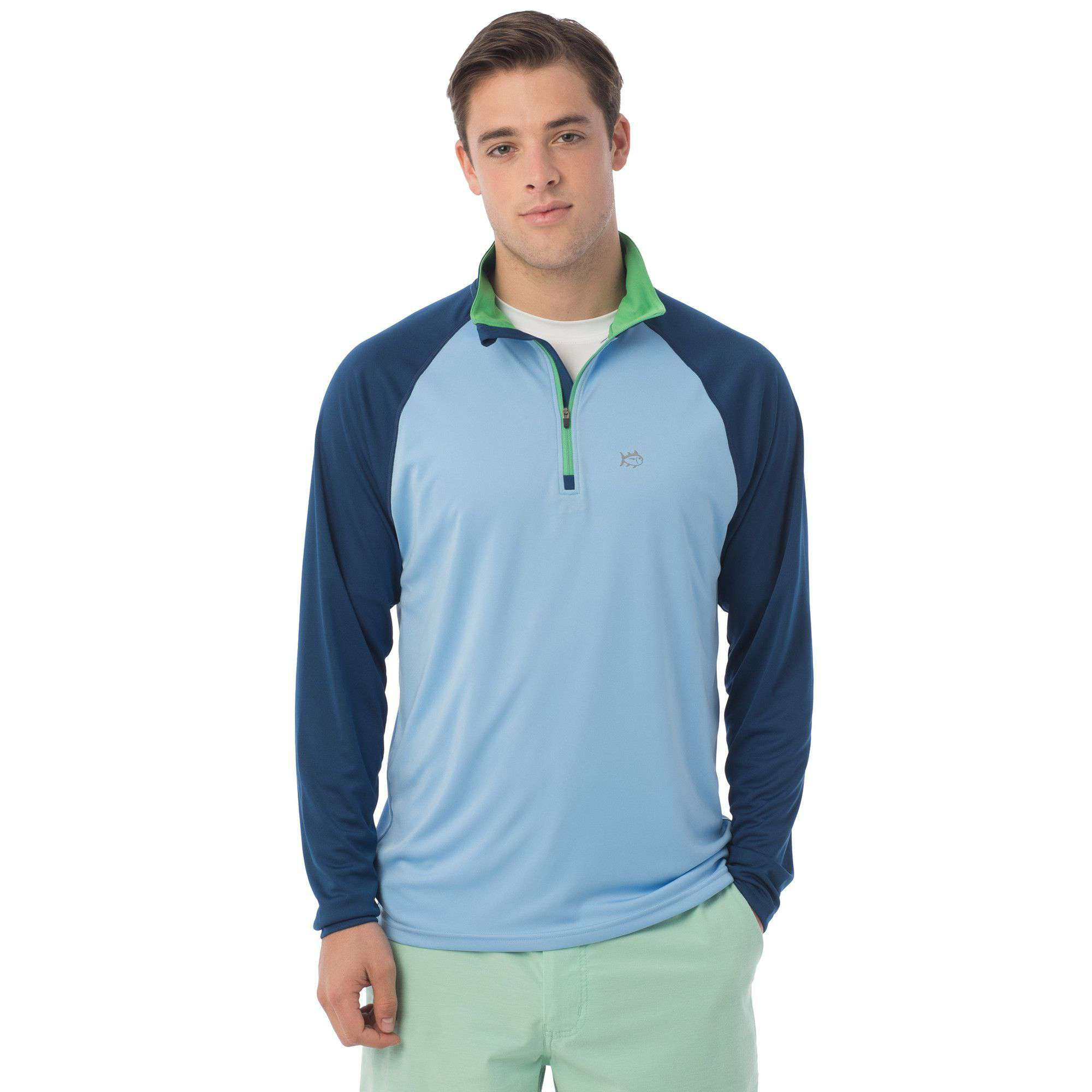 Tide to Trail Performance 1/4 Zip in Ocean Channel by Southern Tide