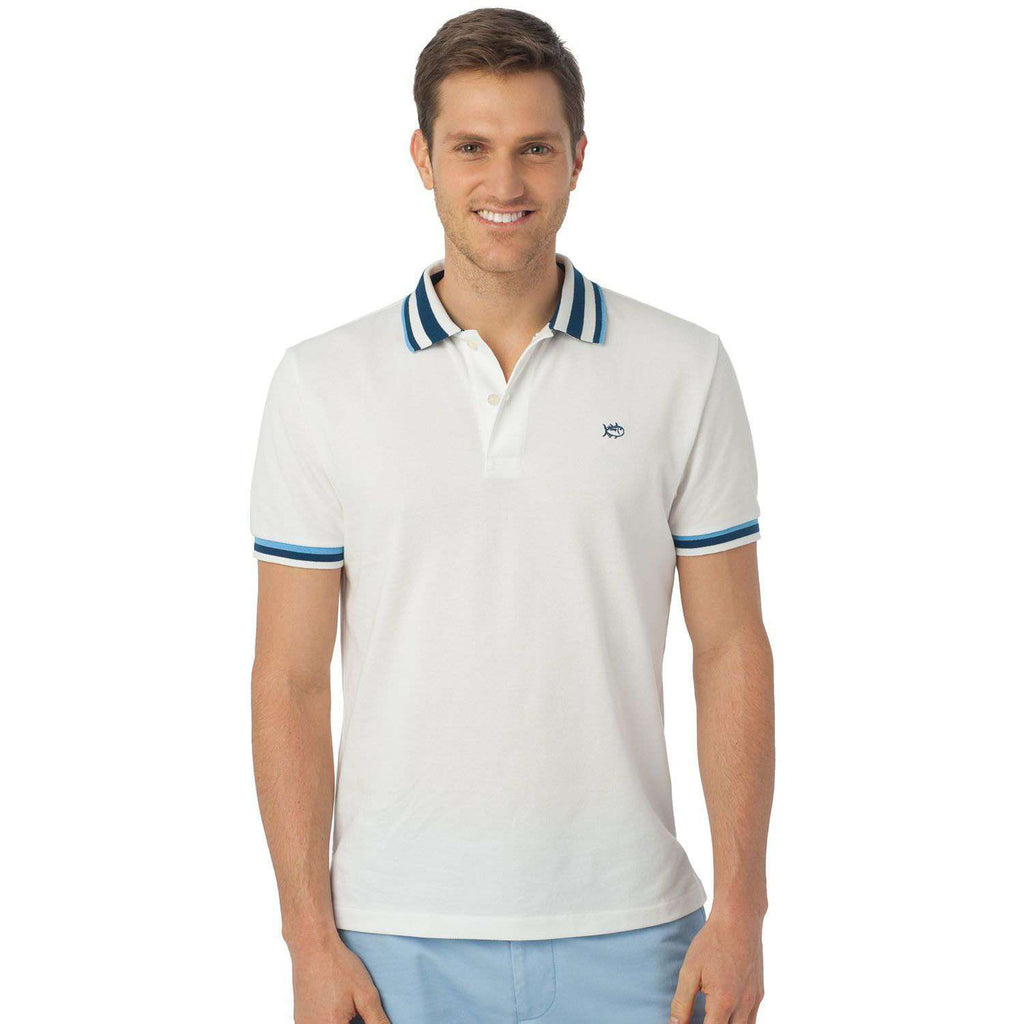 Bay Blue Tipped Polo in Classic White by Southern Tide  - 1