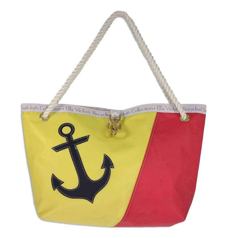 Tote Bags - Andros Bag In Red And Yellow With Navy Anchor By Ella Vickers