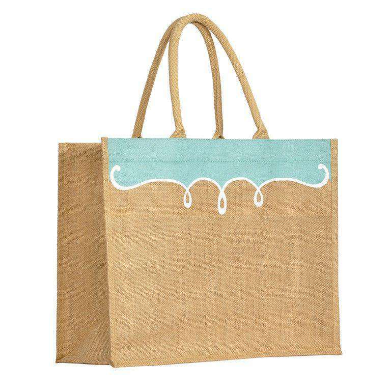 Tote Bags - Annie Jute Pocket Tote In Sky Blue By The Royal Standard
