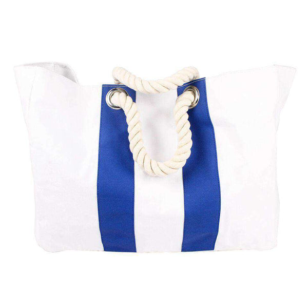 Beach Bag in White with Blue Stripe by Hiho - FINAL SALE