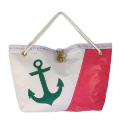 Tote Bags - Calypso Bag In Pink And White With Green Anchor By Ella Vickers