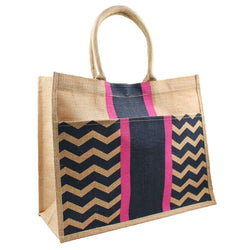 Tote Bags - Chevron Stripe Jute Tote In Navy And Pink By The Royal Standard - FINAL SALE