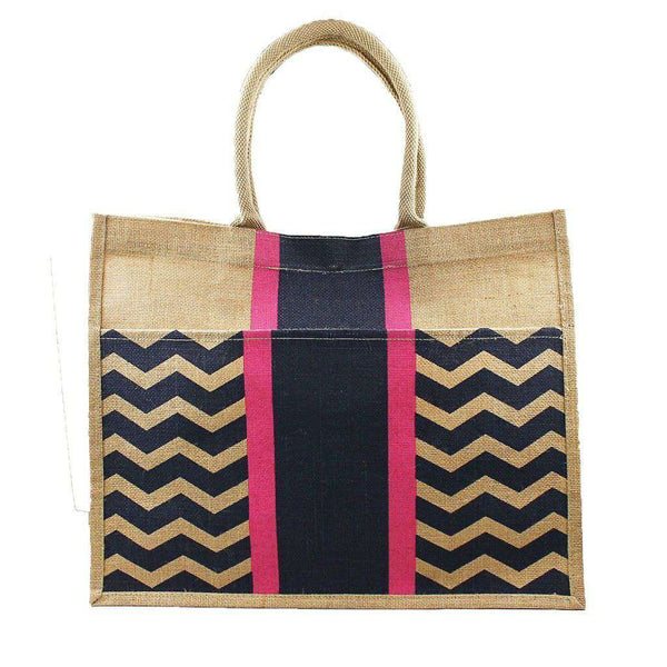 Chevron Stripe Jute Tote in Navy and Pink by The Royal Standard - FINAL SALE