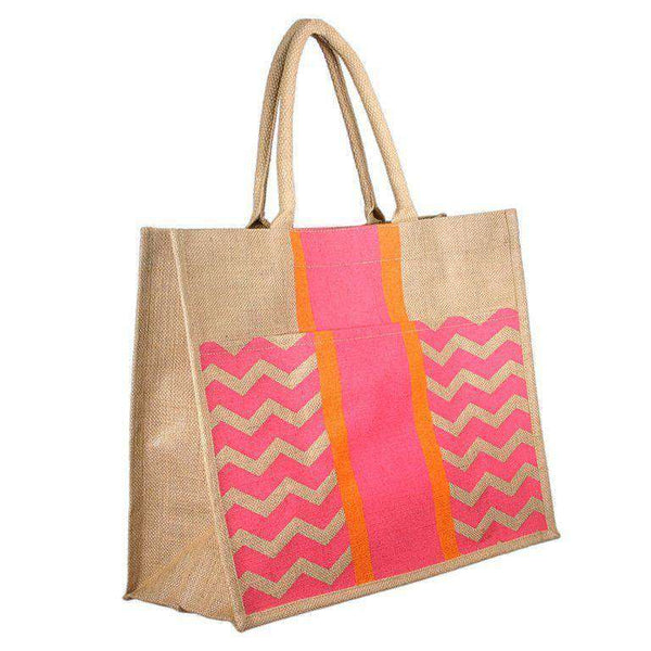 Tote Bags - Chevron Stripe Jute Tote In Pink And Orange By The Royal Standard