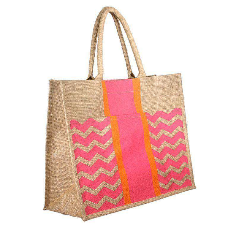 Chevron Stripe Jute Tote in Pink and Orange by The Royal Standard