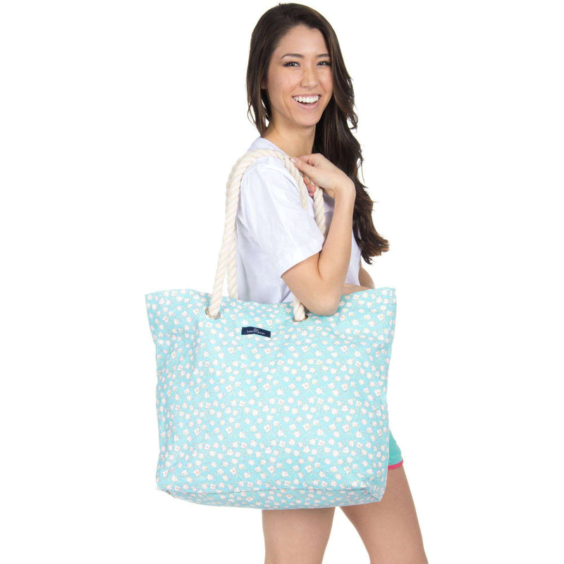 Cotton Beach Bag in Mint by Lauren James - FINAL SALE