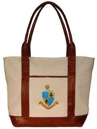 Tote Bags - Delta Delta Delta Tote Bag In Natural Canvas By Smathers & Branson