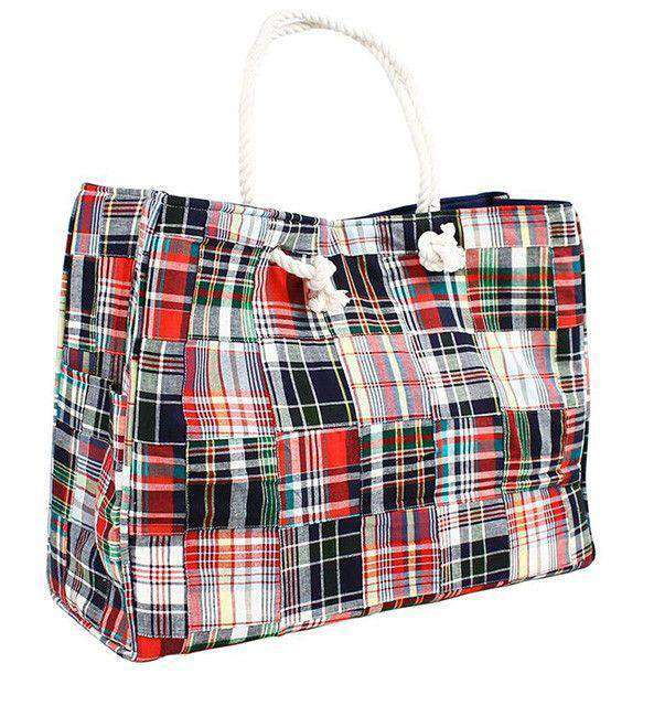 Grace Beach Bag in Madras Plaid Patchwork by Just Madras