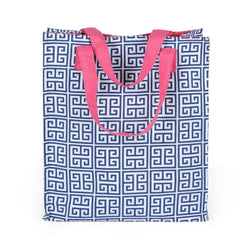 Tote Bags - Greek Key Shopping Tote In Navy By Malabar Bay - FINAL SALE