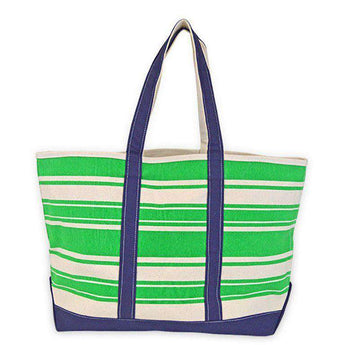 Tote Bags - Green Stripe Canvas Tote By All For Color - FINAL SALE