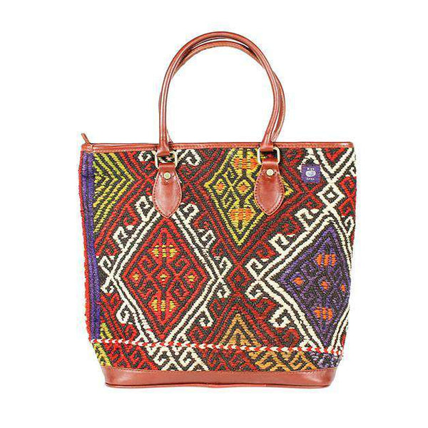 Tote Bags - Kilim Tote Bag In Diamond Crimson By Res Ipsa