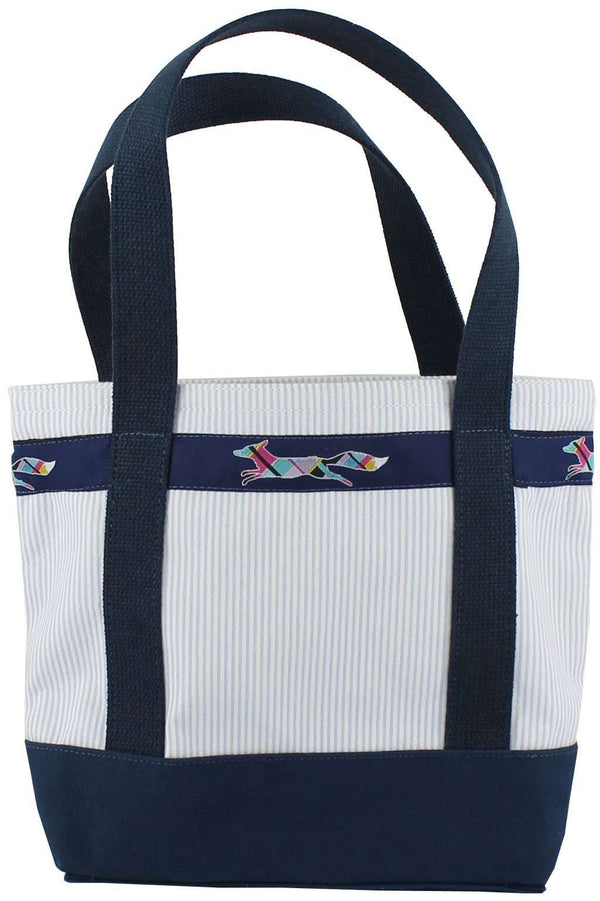 Tote Bags - Large Longshanks Tote Bag In Blue Seersucker By Country Club Prep