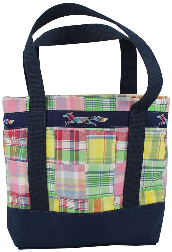 Large Longshanks Tote Bag in Pastel Madras by Country Club Prep