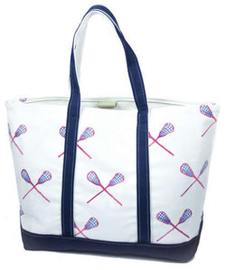 Tote Bags - Large Tote Bag In White And Navy With Navy And Pink Lacrosse Sticks By Crabberrie