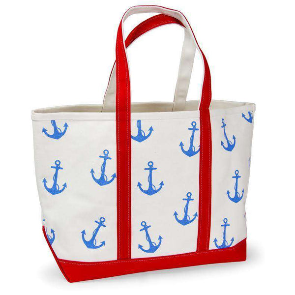 Large Tote Bag in White With Blue Anchors by Crabberrie