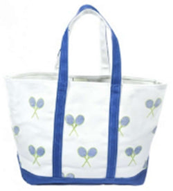 Tote Bags - Large Tote Bag In White With Blue And Green Tennis Rackets By Crabberrie