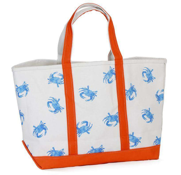 Large Tote Bag in White With Blue Crabs by Crabberrie