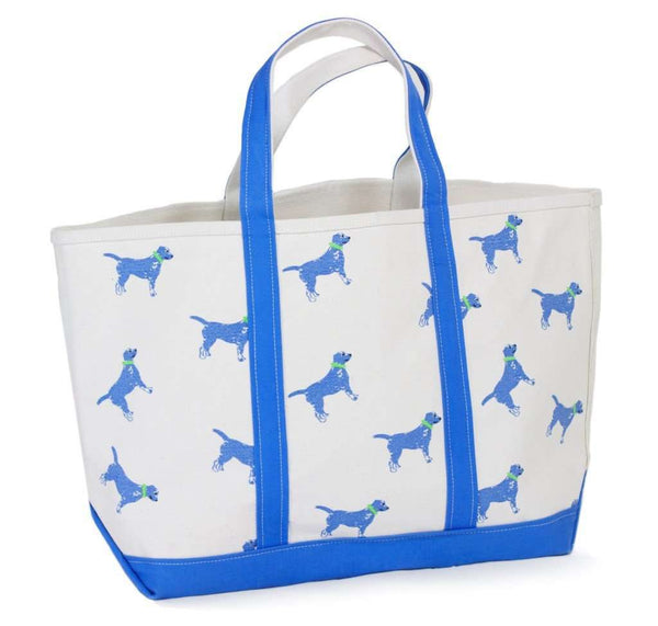 Large Tote Bag in White With Blue Dogs by Crabberrie