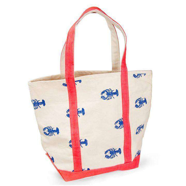 Large Tote Bag in White With Blue Lobsters by Crabberrie