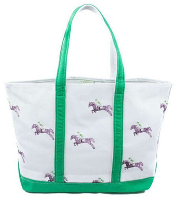 Large Tote Bag in White With Horses by Crabberrie