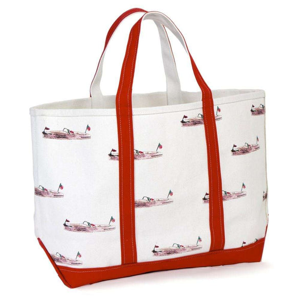Large Tote Bag in White With Pink Boats by Crabberrie