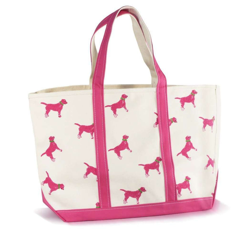 Large Tote Bag in White With Pink Dogs by Crabberrie