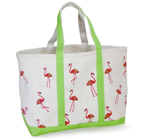 Large Tote Bag in White With Pink Flamingos by Crabberrie