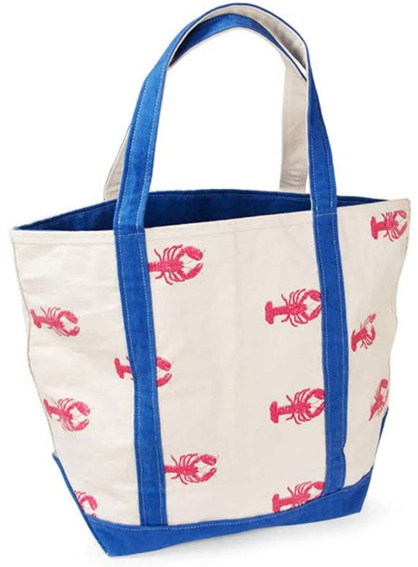 Large Tote Bag in White With Pink Lobsters by Crabberrie