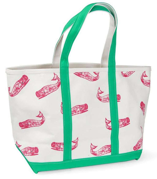 Large Tote Bag in White With Pink Whales by Crabberrie