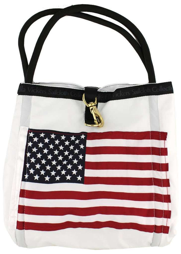 Tote Bags - Limited Edition Medium Rope Tote Bag In White With American Flag By Ella Vickers