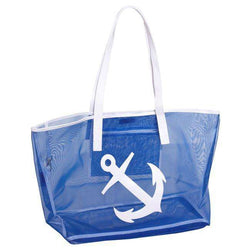 Tote Bags - Madison Mesh Tote In Navy With White Anchor By Lolo