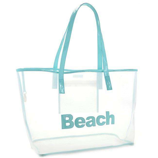 Tote Bags - Madison Mesh Tote In White With Light Blue Beach By Lolo - FINAL SALE