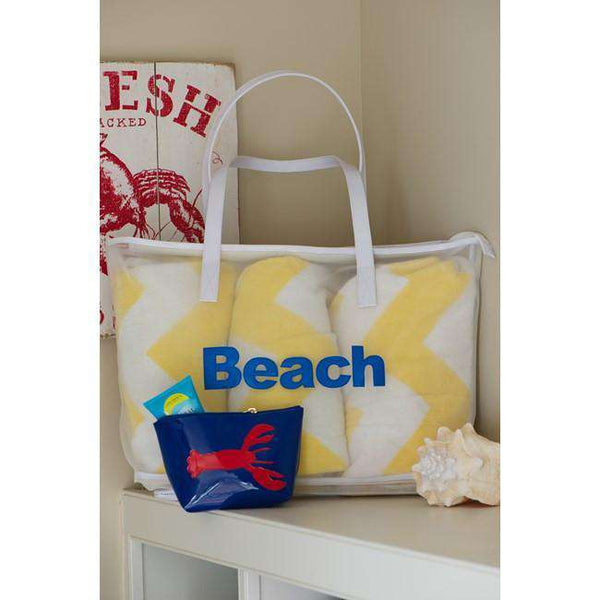 Madison Mesh Tote in White with Light Blue Beach by Lolo - FINAL SALE