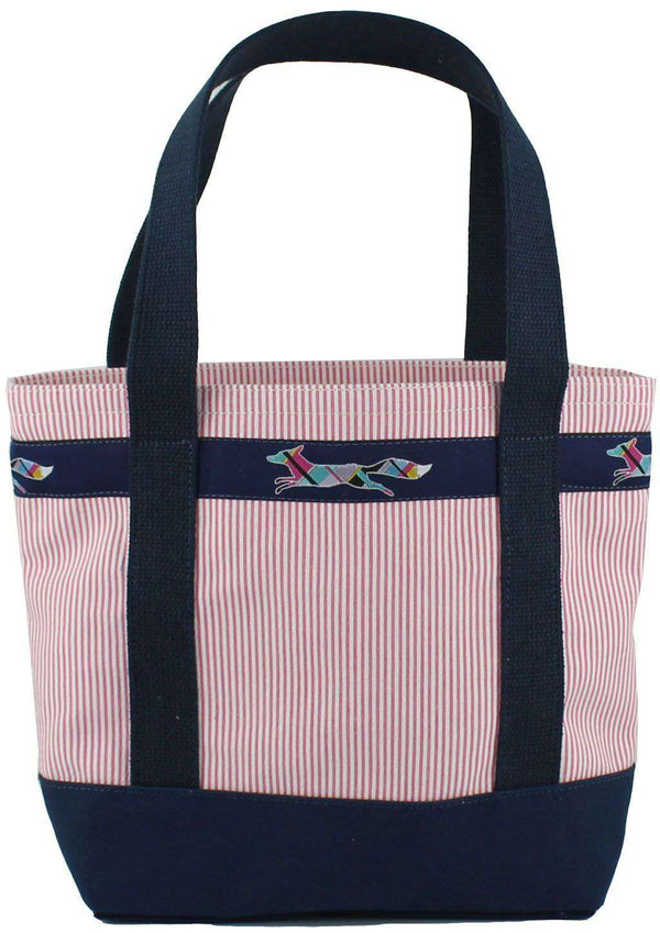 Medium Longshanks Tote Bag in Pink Seersucker by Country Club Prep