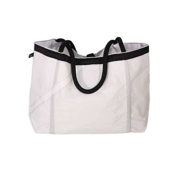 Medium Rope Tote Bag in White With Navy Number by Ella Vickers