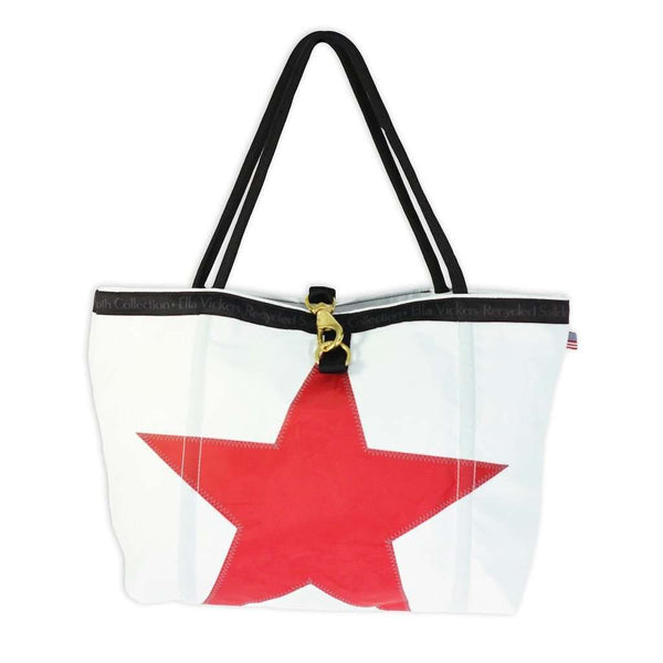 Medium Rope Tote Bag in White With Red Star by Ella Vickers