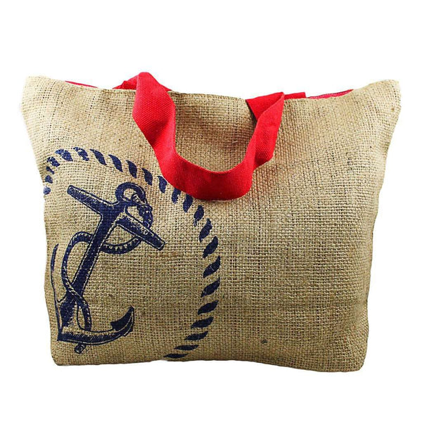 Tote Bags - Nautical Jute Sack With Blue Anchor By The Royal Standard